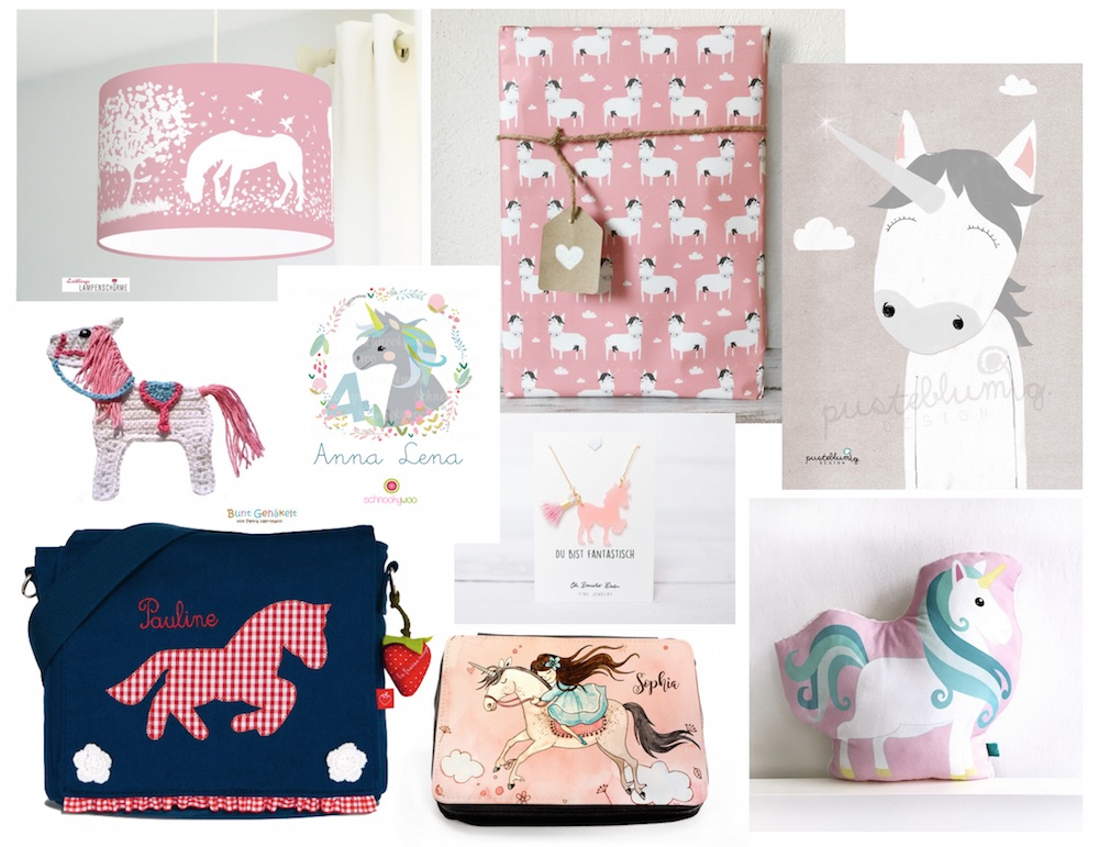 Pferde- und Einhorn-Motiv: Kindergartentasche, Geschenkpapier, Lampenschirm, Federmappe, Poster, Kissen bei Spielpferd.de