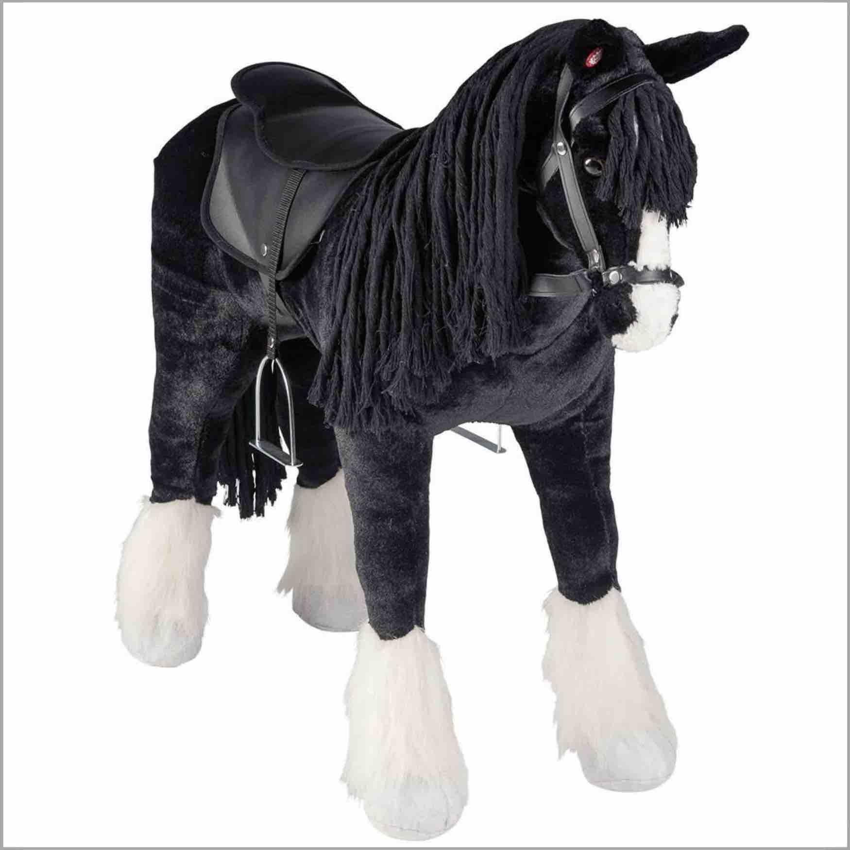 Happy People Pferd Shire Horse, Plüschpferd zum Reiten mit Sound, Stehpferd XXL, wunderschönes Spielzeug Pferd groß