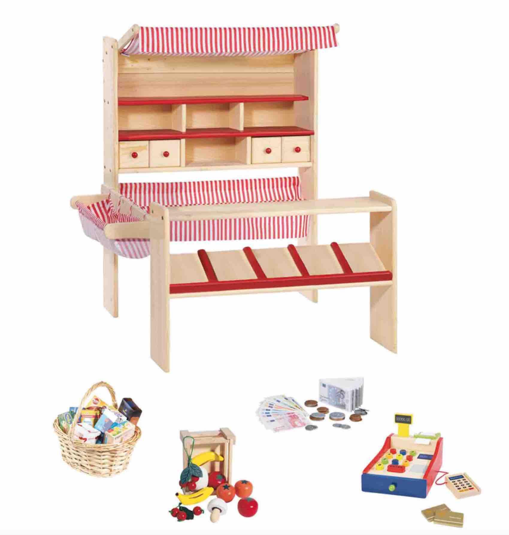 Pinolino Marktstand, Verkaufsstand für Kinder, Kaufladen aus Holz