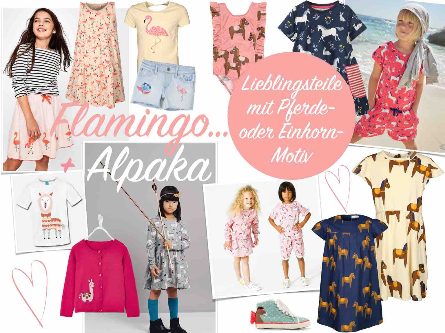 Kindermode für den Frühling und Sommer 2018. Pferd Pferde-, Einhorn-, Flamingo- und Alpaka-Motiv Tiermotiv Mädchen Bekleidung Badeanzug, Kleid, T-Shirt.