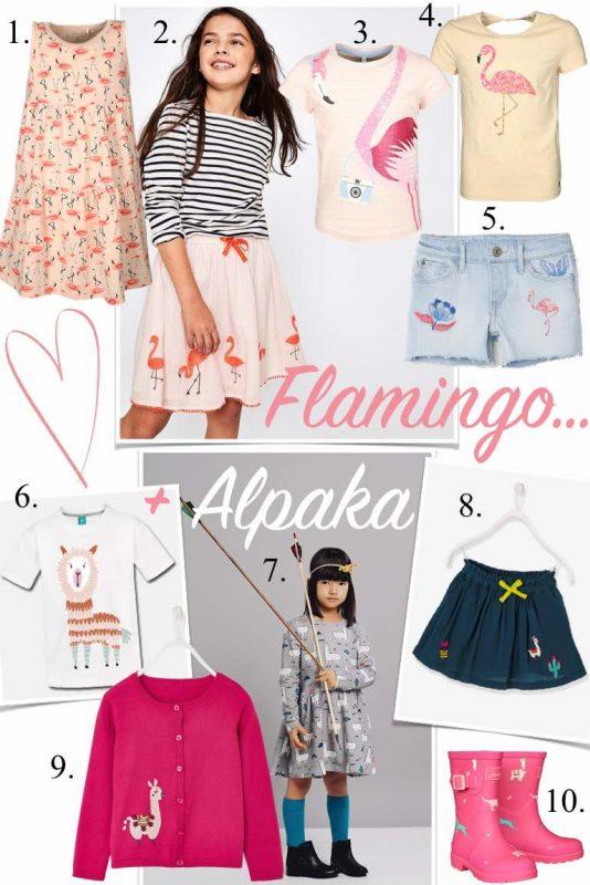 Kindermode Bekleidung Kinder Mädchen Trend Frühling Sommer 2018 Flamingo und Alpaka