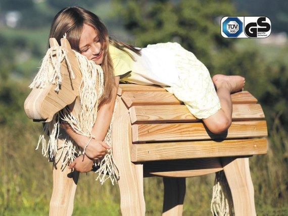 Kleines Holzpferd TÜV / GS für den Garten oder Kinderzimmer, stabil, robust, gut für kleine Kinder geeignet, z.B. für den Kindergarten