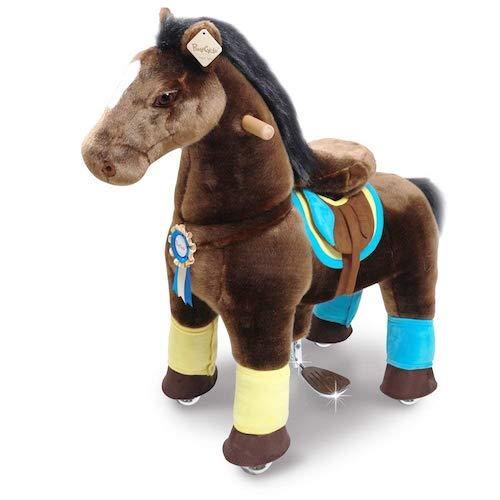 Dieses Spielzeug Pferd zum Reiten von Ponycycle ist eine Neuheit aus dem Jahr 2018. Ein Plüschpferd zum Reiten auf Rollen.