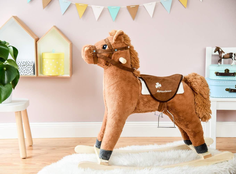 Amadeus Pferd für Bibi und Tina Fans, Schaukelpferd Plüsch mit Sound, Geschenkidee zu Weihnachten für Mädchen und Jungen