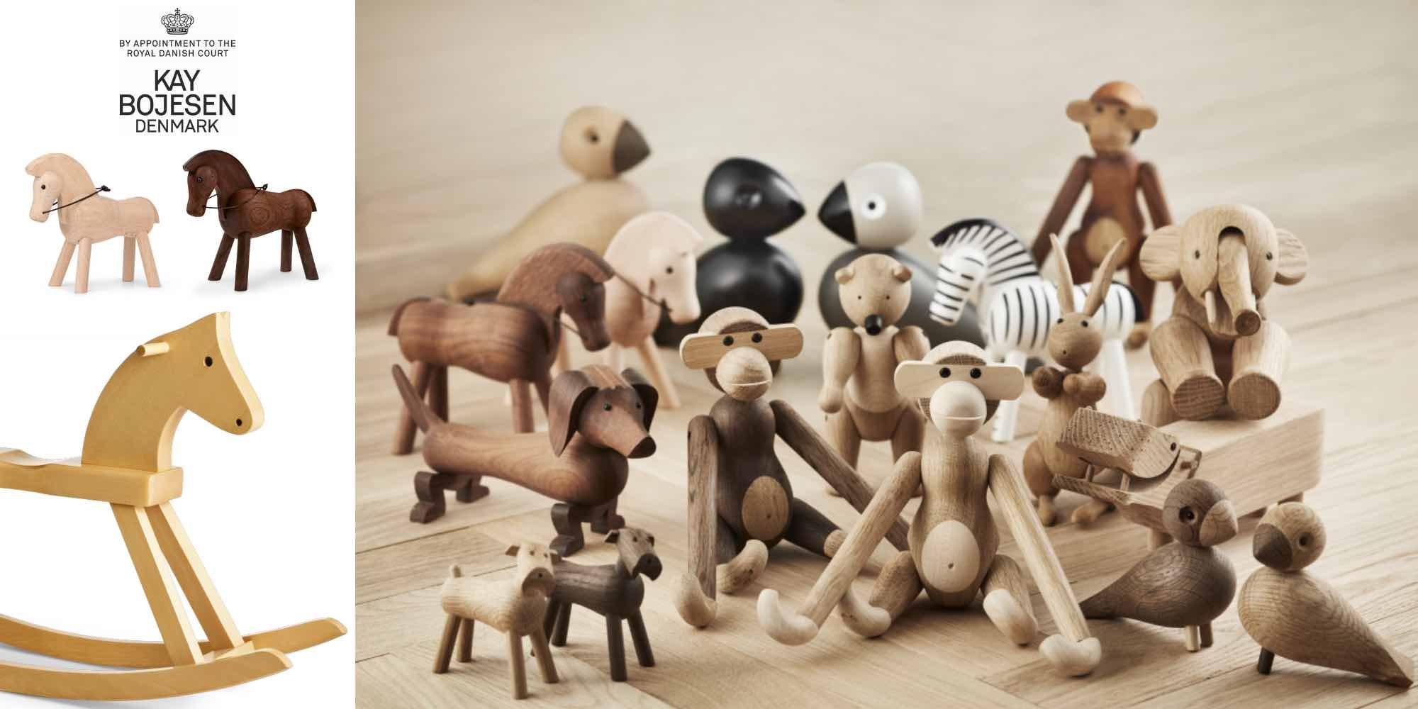 Affe aus Holz, Pferd, Schaukelpferd, Vogel, Elefant etc. von Kay Bojesen, Dänisch Design Klassiker, besondere Pferde Geschenke für Mädchen und Jungen