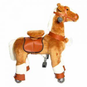 Galoppo Spielzeugpferd zum Reiten, Plüschpferd, Pferd mit Rolen, klein, für Kinder ab 2 Jahren, braun