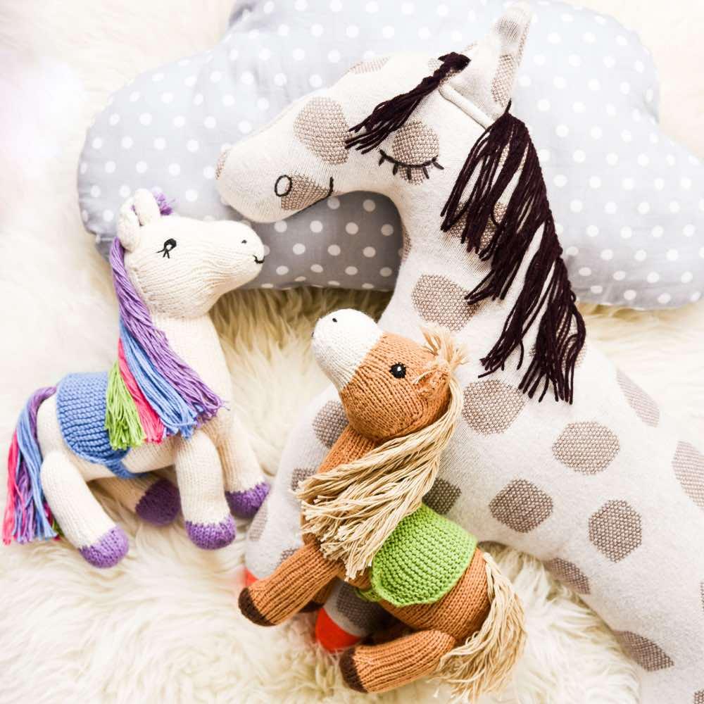 Pferde Geschenke für Mädchen und Jungen, Geschenkideen für Pferdefreunde, Mama Ocllo Pferd und Einhorn aus Bio-Baumwolle, Oyoy Pferd