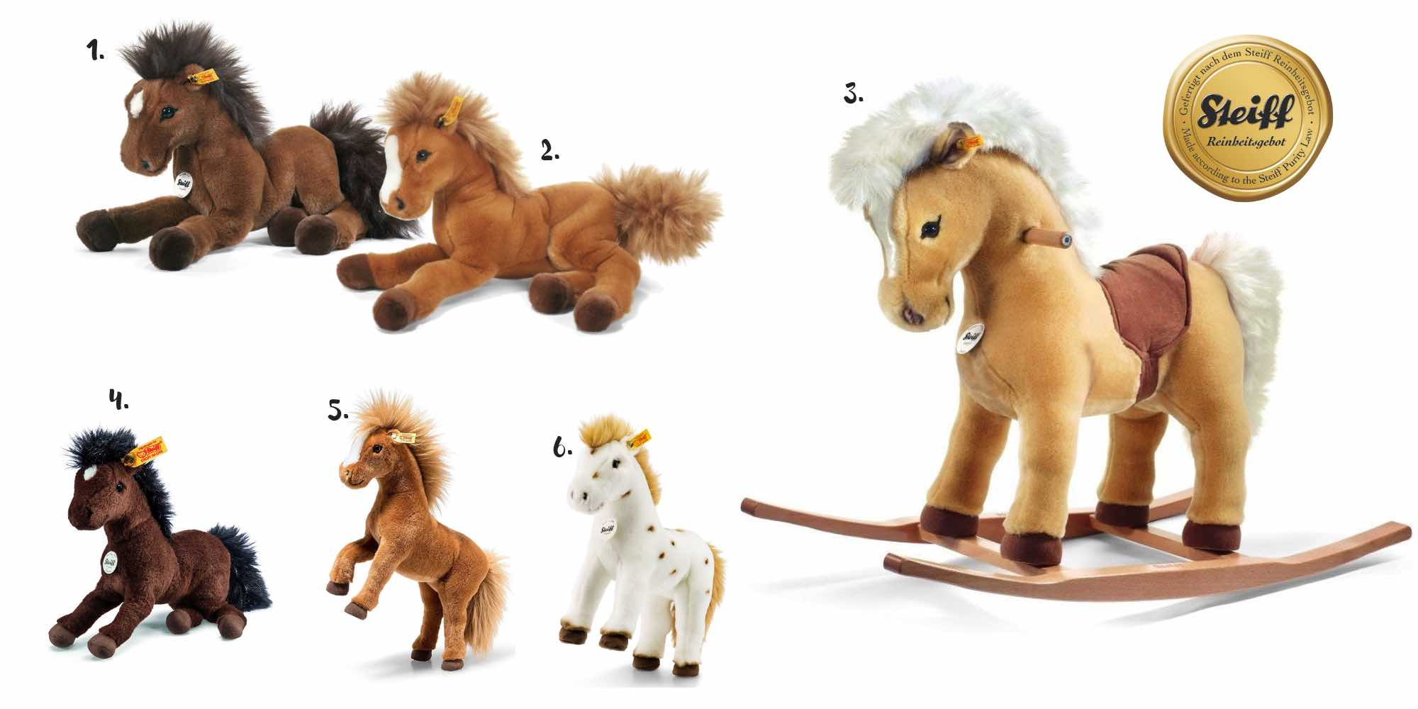 Steiff Kuscheltier Pferd, Plüschpferd, Schaukelpferd aus Plüsch, Pferde Geschenke für Mädchen und Jungen, Geschenkideen für Kinder, Pferdefreunde, Pferdefans