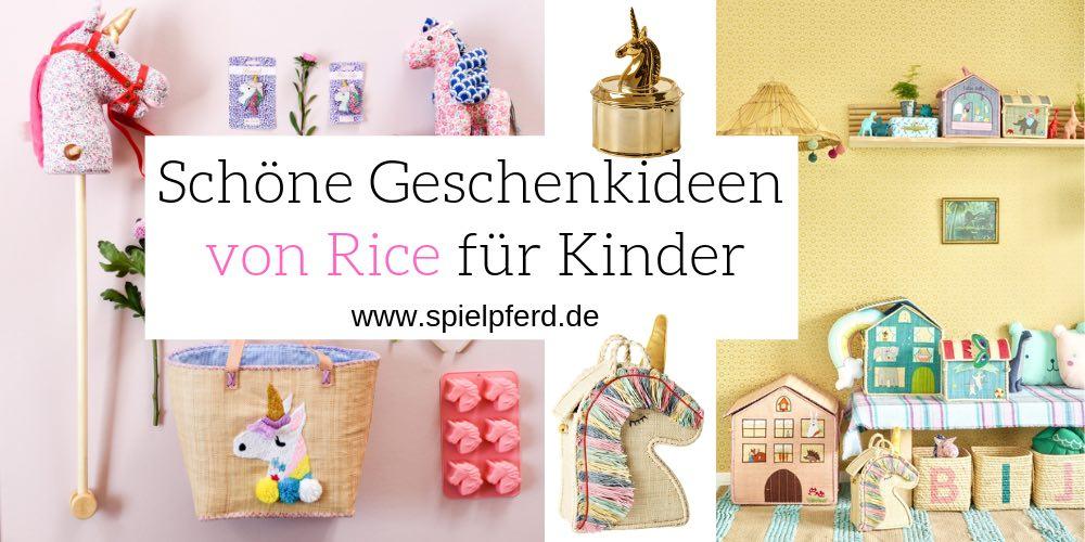 Tolle Geschenkideen für Kinder von Rice: Steckenpferd Einhorn, Buchstaben Aufbewahrungskorb etc.