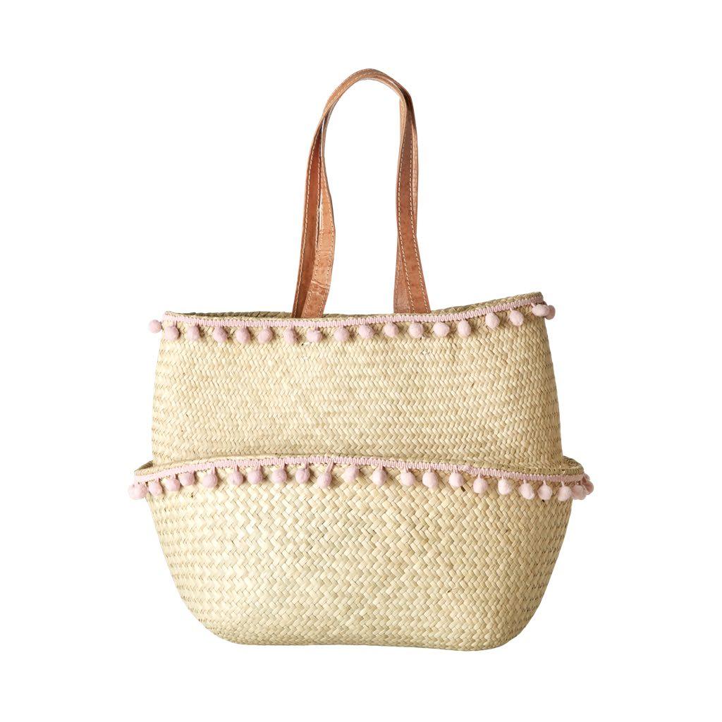 Rice Einkaufstasche Shopping Bag aus Raffia-Bast mit Leder-Henkel