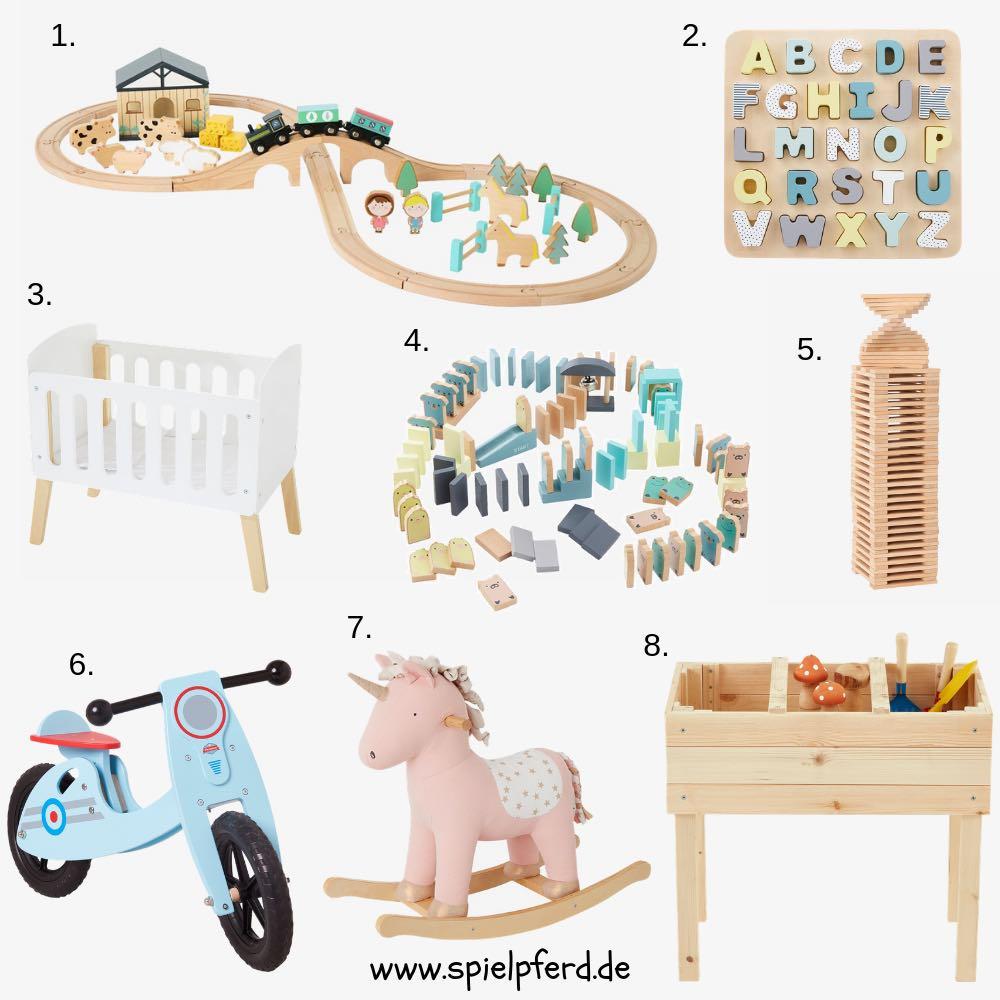 Spielzeug aus Holz für Kinder: Holzeisenbahn, Hochbeet, Puppenbett, Laufrad etc. Geschenke zu Ostern, Weihnachten oder zum Geburtstag. Geschenkideen für Mädchen und Jungen.
