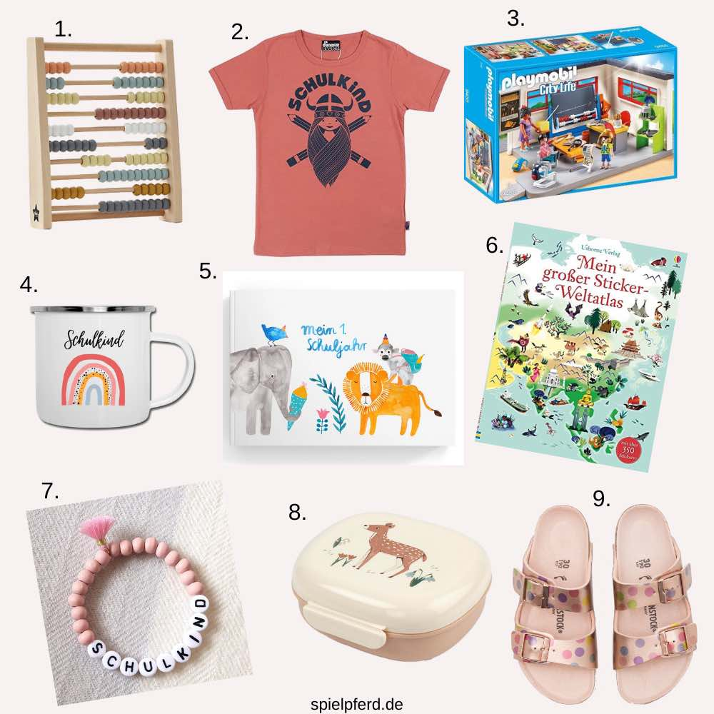 Geschenke zur Einschulung. Geschenkideen für das Schulkind: T-Shirt, Hausschuhe, Brotdose, Armband etc.